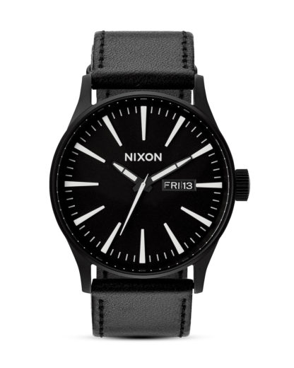Quarzuhr Sentry Leather A105 000-00 Black NIXON schwarz,silber 3007001595358