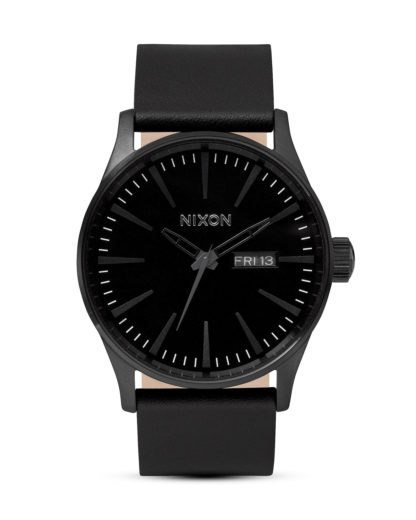 Quarzuhr Sentry Leather A105 001-00 All Black NIXON schwarz 3007001768684