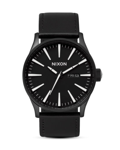 Quarzuhr Sentry Leather A105 005-00 Black / White NIXON schwarz 3608700001630