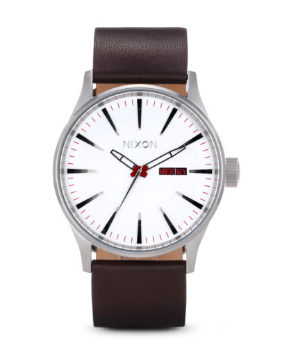 Quarzuhr Sentry Leather A105 100-00 White NIXON braun,silber,weiß 3007001595464