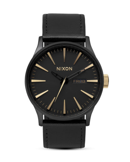 Quarzuhr Sentry Leather A105 1041-00 Matte Black / Gold NIXON schwarz 3007001865338