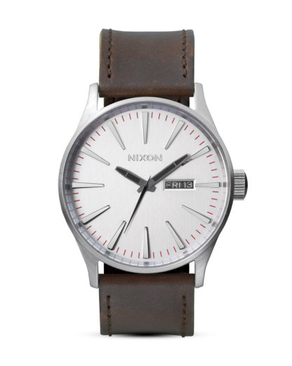 Quarzuhr Sentry Leather A105 1113-00 Silver / Brown NIXON braun,silber 3007001929740