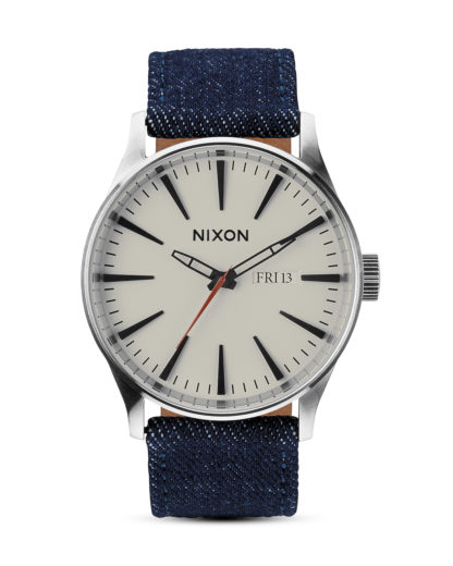 Quarzuhr Sentry Leather A105 1540-00 Dark Denim / Cream NIXON blau,silber,weiß 3608700001654