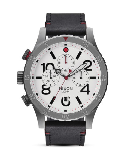 Chronograph 48-20 Leather A363 486-00 Gunmetal / White NIXON grau,schwarz,weiß 3608700002644