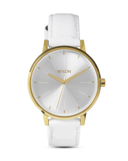 Quarzuhr Kensington Leather A108 1393-00 All White / Gold Patent NIXON gold,silber,weiß 3608700083407