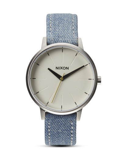 Quarzuhr Kensington Leather A108 1601-00 Washed Denim / Cream NIXON beige,blau,silber 3608700001722