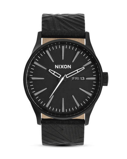 Quarzuhr Sentry Leather A105-1617-00 All Black Shadow NIXON grau,schwarz 3608700066721