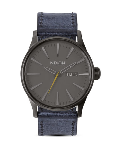 Quarzuhr Sentry Leather A105 1893-00 Gunmetal / Navy NIXON grau 3608700175423