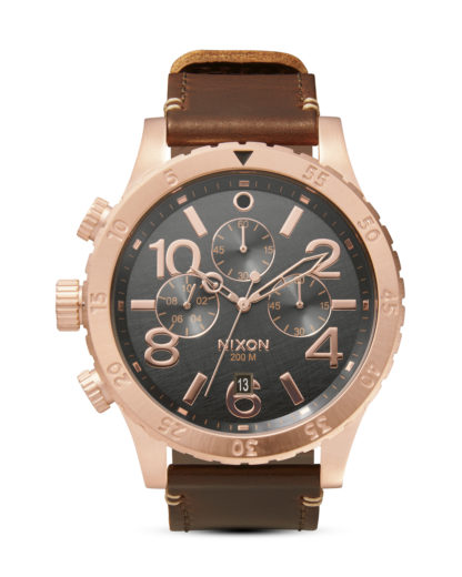 Chronograph 48-20 Leather A363 2001 Rose Gold / Gunmetal / Brown NIXON braun 3608700205083