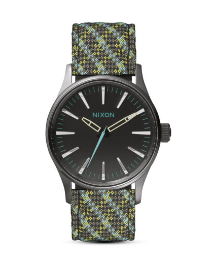 Quarzuhr Sentry 38 Leather A377 1968 Gun / Green / Lt Blue Woven NIXON mehrfarbig 3608700592244
