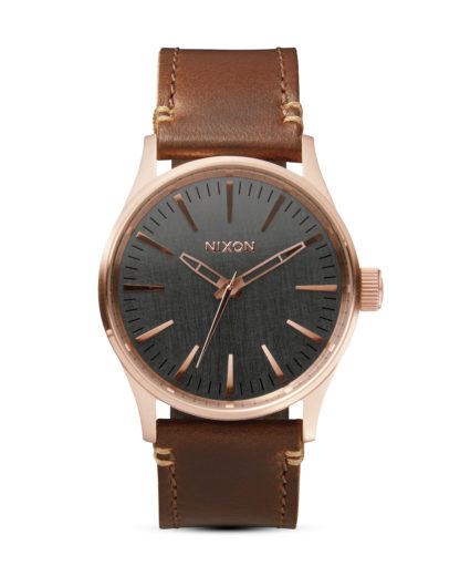 Quarzuhr Sentry 38 Leather A377 2001 Rose Gold / Gunmetal / Brown NIXON braun 3608700205519