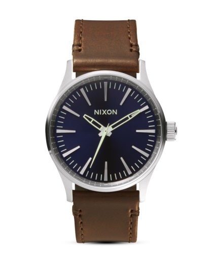 Quarzuhr Sentry 38 Leather A377 1524 Blue / Brown NIXON braun 3608700592213