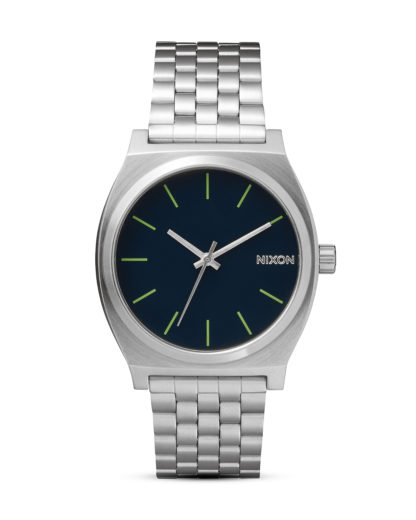 Quarzuhr Time Teller A045 1981 Midnight Blue / Volt Green NIXON silber 3608700591438