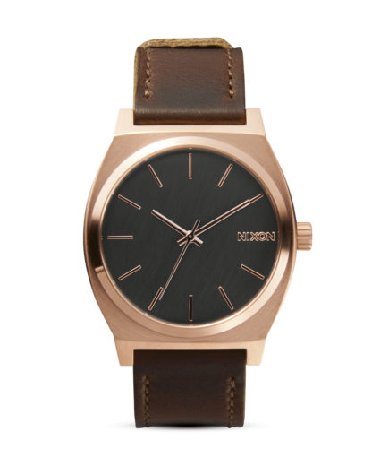 Quarzuhr Time Teller A045 2001 Rose Gold / Gunmetal / Brown NIXON braun 3608700199771