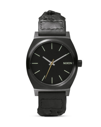 Quarzuhr Time Teller Leather A045 1928 All Black Woven NIXON schwarz 3608700591346