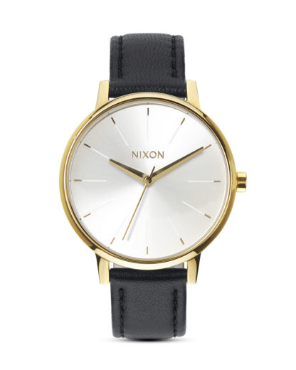Quarzuhr Kensington Leather A108 1964 Gold / White / Black NIXON schwarz 3608700591919
