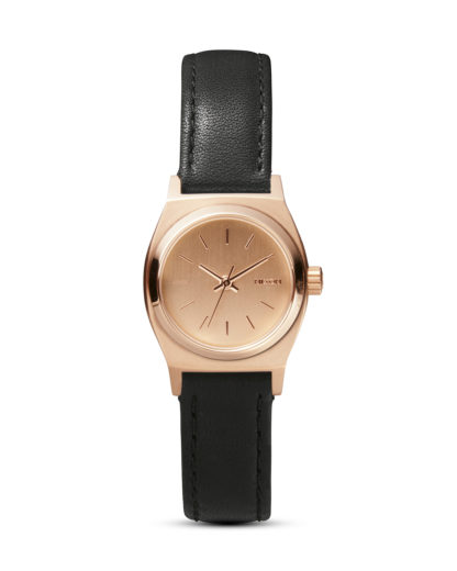 Quarzuhr Small Time Teller Leather A509 1932 All Rose Gold / Black NIXON schwarz 3608700591629