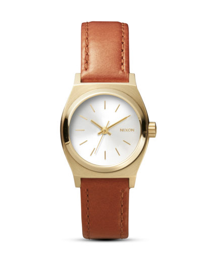 Quarzuhr Small Time Teller Leather A509 1976 Light Gold / Saddle NIXON braun,gold 3608700591636
