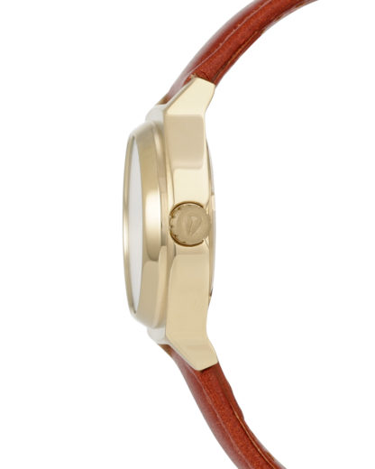 Quarzuhr Small Time Teller Leather A509 1976 Light Gold / Saddle NIXON Damen Leder 3608700591636