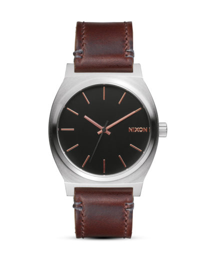 Quarzuhr Time Teller Leather A045 2066-00 Gray / Rose Gold / Brown NIXON braun,schwarz,silber 3608700613413