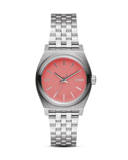 Quarzuhr Small Time Teller A399 2054-00 Bright Coral NIXON pink,silber 3608700612829