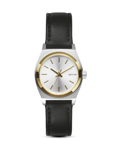 Quarzuhr Small Time Teller Leather A509 1884-00 Silver / Gold / Black NIXON gold,schwarz,silber 3608700613857
