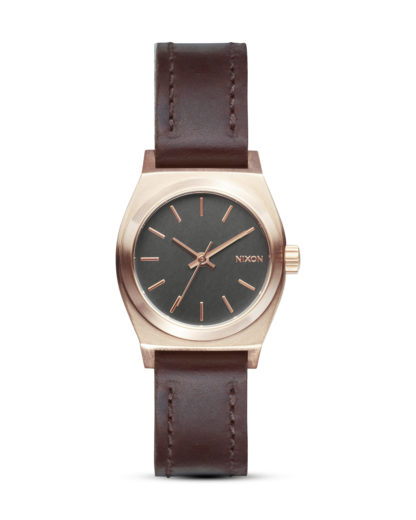 Quarzuhr Small Time Teller Leather A509 2001-00 Rose Gold / Gunmetal / Brown NIXON braun,grau,roségold 3608700613864