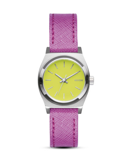 Quarzuhr Small Time Teller Leather A509 2081-00 Neon Yellow / Hot Pink NIXON gelb,pink,silber 3608700612904