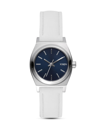 Quarzuhr Small Time Teller Leather A509 321-00 Navy / White NIXON schwarz,silber,weiß 3608700612683