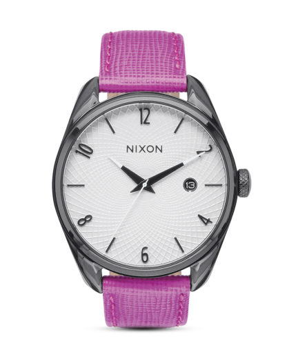 Quarzuhr Bullet Leather A473 2049 Black / Hot Pink NIXON grau,pink,weiß 3608700641164