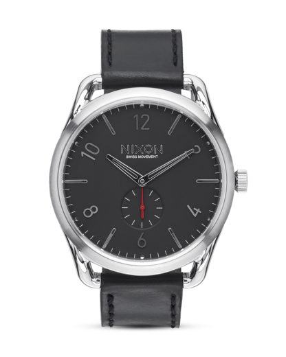 Quarzuhr C45 Leather A465 008 Black / Red NIXON Schwarz 3608700640983