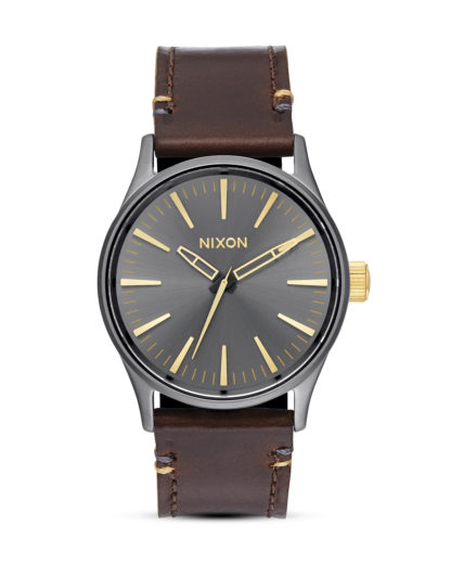 Quarzuhr Sentry 38 Leather A377 595 Gunmetal / Gold NIXON braun,grau 3608700640679
