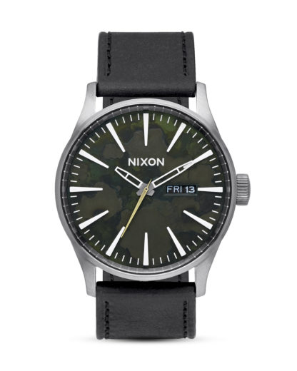 Quarzuhr Sentry Leather A105 2069 Gunmetal / Green Oxyde NIXON schwarz,silber 3608700640525