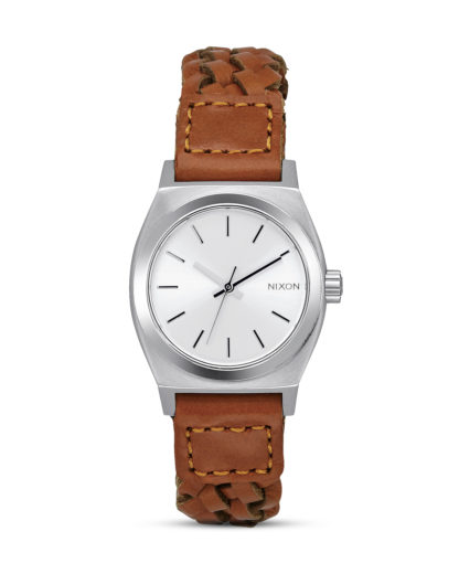 Quarzuhr Small Time Teller Leather A509 2082 Saddle Woven NIXON braun,silber 3608700641287