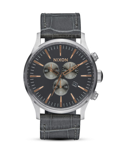 Chronograph Sentry Leather A405 2145-00 Gray Gator NIXON grau,roségold,silber 3608700662824