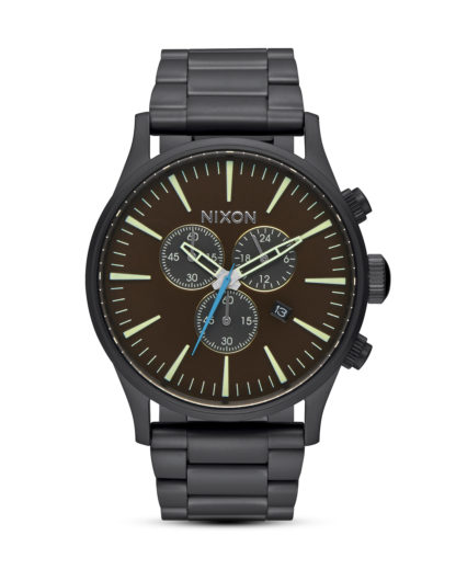 Chronograph Sentry A386 2209-00 All Black / Brass / Brown NIXON schwarz 3608700662763