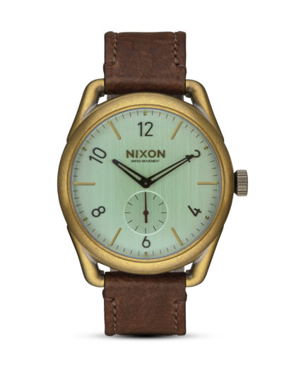 Quarzuhr C39 Leather A459-2223 Brass / Green Crystal / Brown NIXON braun,gold,grün 3608700703503