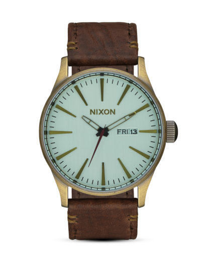 Quarzuhr Sentry Leather A105-2223 Brass / Green Crystal / Brown NIXON braun,gold,grün 3608700702940