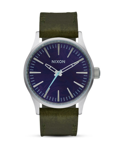 Quarzuhr Sentry 38 Leather A377-2302 Purple / Olive NIXON blau,grün,silber 3608700746852