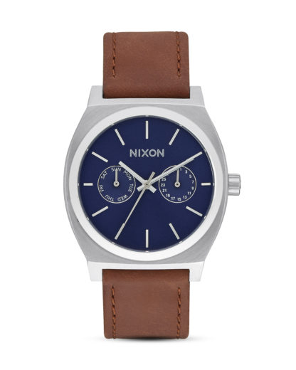 Quarzuhr Time Teller Deluxe Leather A927-2307 Navy Sunray / Brown NIXON blau,braun,silber 3608700702834