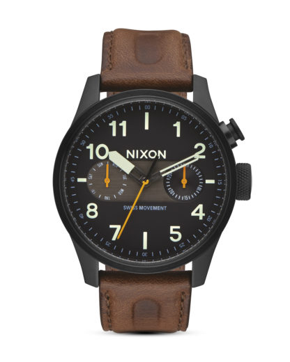 Quarzuhr Safari Deluxe Leather A977-2344 Black / Lum / Brown NIXON braun,schwarz 3608700773339
