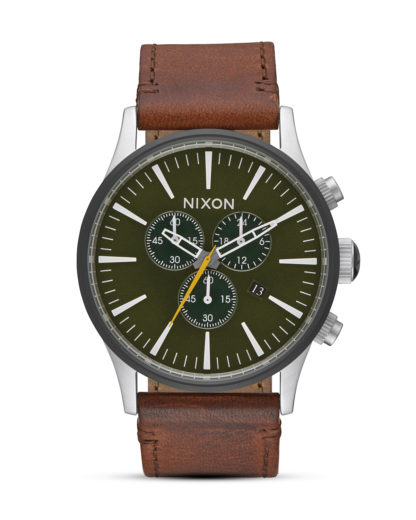 Chronograph Sentry Leather A405-2334 Surplus / Brown  NIXON braun,grün,silber 3608700772592