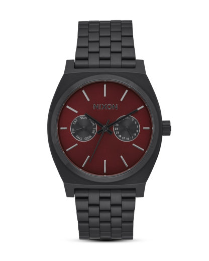Quarzuhr Time Teller Deluxe A922-2346 All Black / Deep Burgundy NIXON rot,schwarz 3608700772882