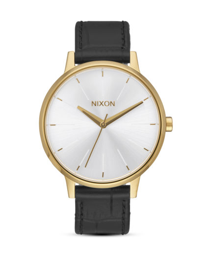 Quarzuhr Kensington Leather A108-2022 Gold / Black Gator  NIXON gold,schwarz,silber 3608700772301