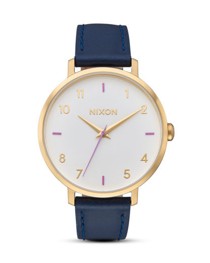 Quarzuhr Arrow A1091-151-00 Leather Gray / Navy NIXON blau,gold,rosa,weiß 3608700819013
