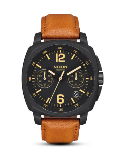 Chronograph Charger Leather A1073-2447-00 All Black / Light Brown NIXON braun,gelb,schwarz 3608700818702