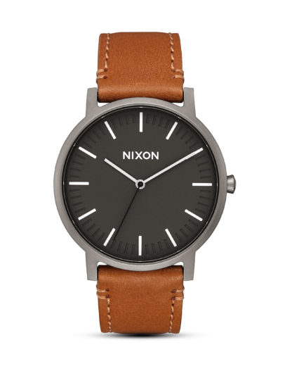 Quarzuhr Porter Leather A1058-2494-00 Gunmetal / Charcoal / Taupe NIXON braun,grau 3608700818573