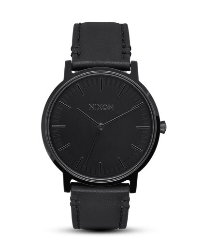 Quarzuhr Porter Leather A1058-001-00 All Black NIXON schwarz 3608700818559