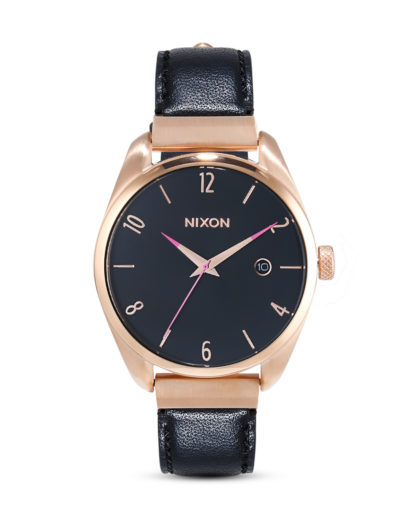 Quarzuhr Bullet Leather Luxe A1185-1098-00 Rose Gold / Black  NIXON roségold,schwarz 3608700231501