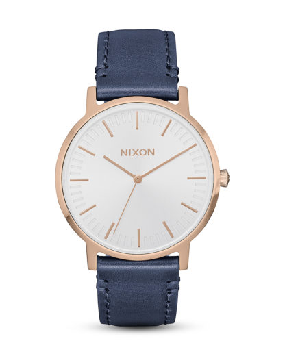 Quarzuhr Porter 35 Leather A1199-2798-00 Rose Gold / Navy / White  NIXON blau,roségold,weiß 3608700246215